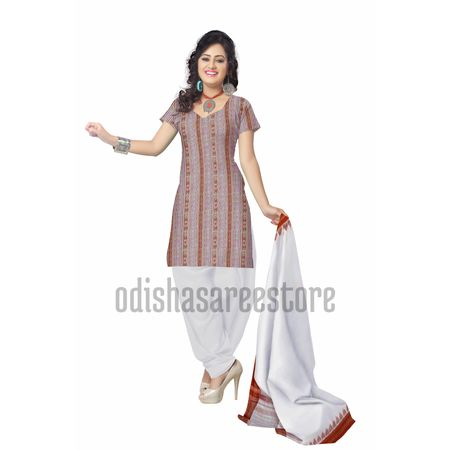 OSS2005: White color Sambalpuri cotton dress materials