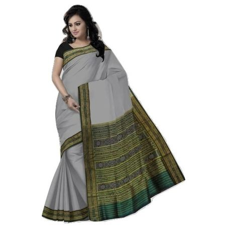 OSS502: Light Grey handwoven sambalpuri Silk saree.