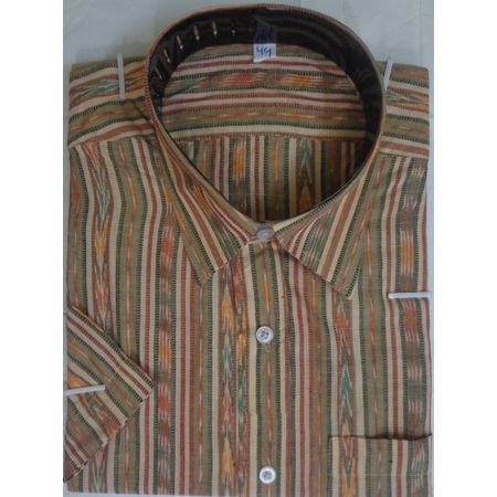 OSS9016: Multicolor Handwoven cotton shirt for puja wear