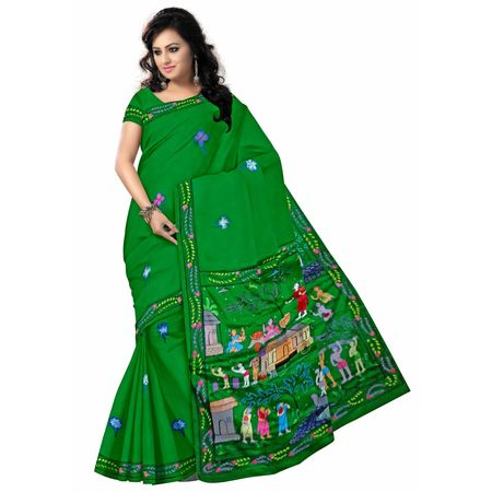 OSS20099: Green color Synthetic Patachitra saree for party wear