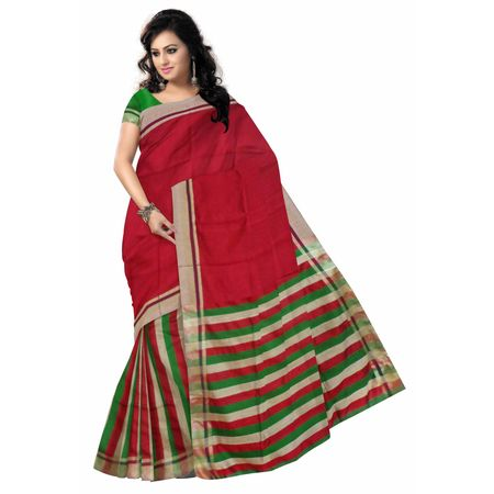 OSSWB035: Red Baha saree online shopping.
