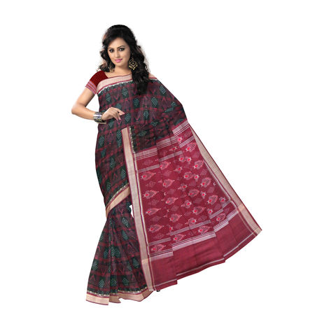 OSS300: Black with Maroon color Sambalpur handloom Cotton Saree by best hand weavers