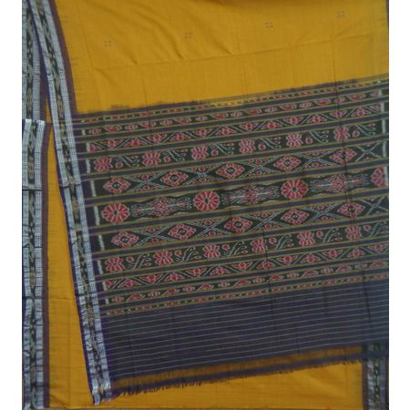 OSS9128: Mustard with Black Buti Design sambalpuri Cotton Sarees Online