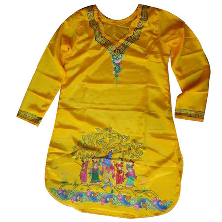 OSS300024: Yellow color Synthetic Silk Patachitra kurta for puja wear