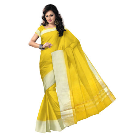 OSSRJ100: Plain kota Doria cotton sarees with Gold Resham Brocade.