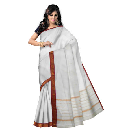 OSSAP002: venkatagiri White handloom cotton sarees online shopping