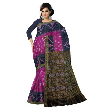 OSS018: Traditional Handloom magenta with black color Nuapatna Khandua Pata Sari