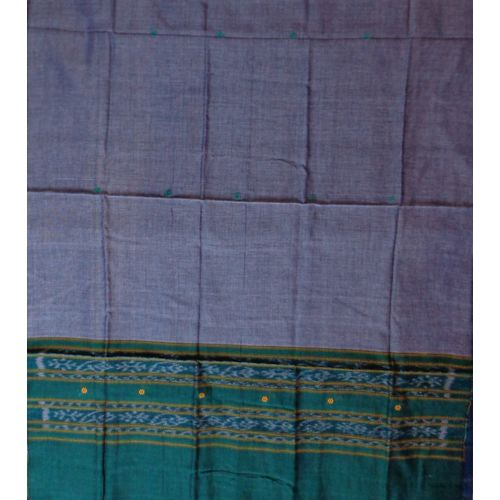 OSS099: Grey with Green color handwoven cotton Dupatta