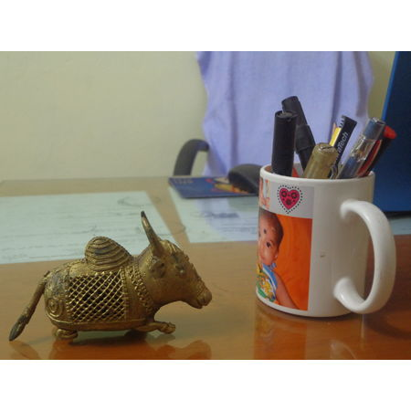 OHD029: Bull design dhokra for puja room.