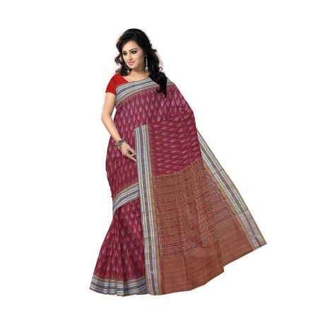 OSS9055: Maroon with Light brown handwoven Cotton Saree