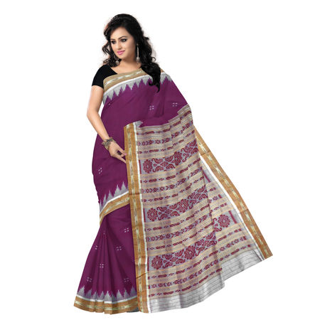 OSS5171: Purple with Off white Handwoven Sambalpuri Silk Saree.