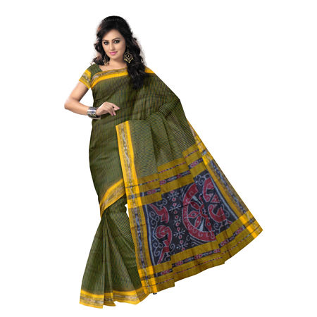 OSS7568: Yellow with Green Lining design handloom cotton saree.