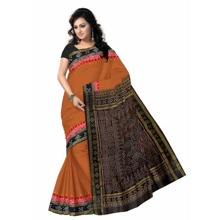 OSS5056: Traditional Handwoven Silk Sambalpuri Sari best to gift mother in this puja