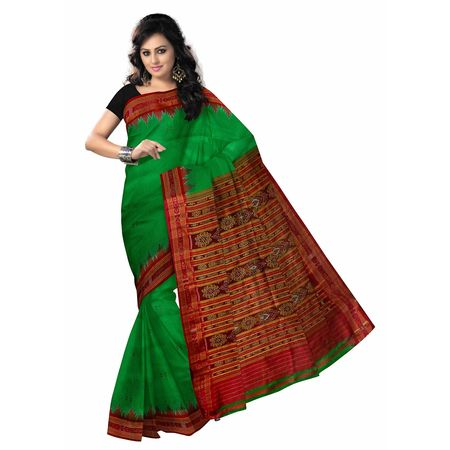OSS5099: Green color Traditional Handloom Silk saree for bridal wear