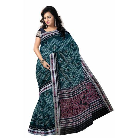 OSS7562: Big Flower with Green color Handwoven Cotton sarees of odisha.