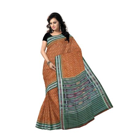 OSS9043: Brown with Green color handloom cotton sarees for office wear
