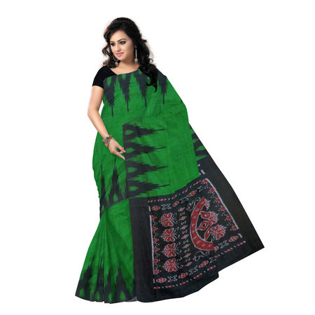 OSS7559: Traditional Handloom Green cotton sarees online