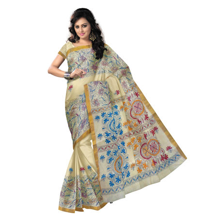 OSSWB9031: Off White Cotton Saree with Kantha Embroidery