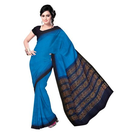 OSS1978: 100% Natural Handwoven Eri Silk Saree in Dodger Blue & Black