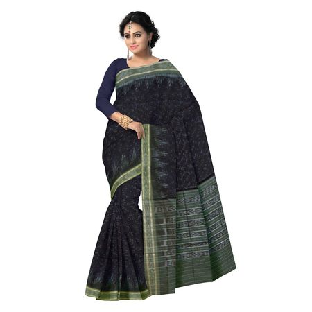 OSS063: Traditional Black color handloom Cotton Saree