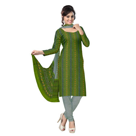 OSS093: Beautiful Traditional Dark Green & Light Green Traditional Ikat(tie & dye) Sambalpuri Cotton Dress Material.