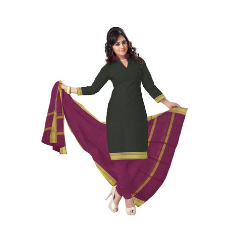OSSTG6225: Handwoven Black and Maroon Mangalagiri Cotton Dress Material
