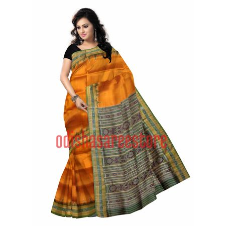 OSS3272: Vat orange color handwoven Silk saree for bridal wearBridal silk saree design