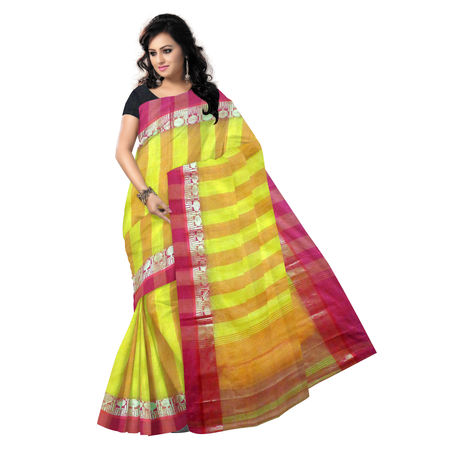 OSSWB9017: Yellow, Orange handwoven cotton saree of West Bengal for puja wear
