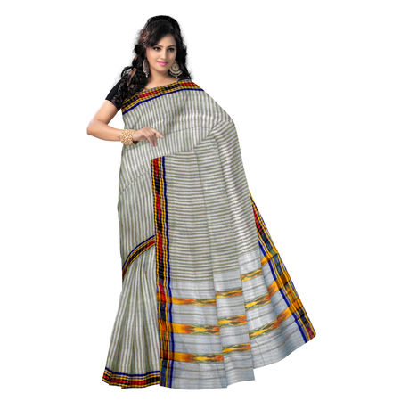 OSSTG006: Ponchampaly Grey Handwoven Cotton Saree