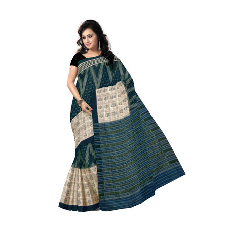 OSS464: Handloom Teal Green with white color cotton designer sarees