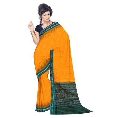 OSS7483: Yellow color Cotton saree made in orissa cuttack
