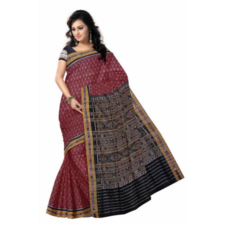OSS6179: Traditional Maroon Ikat(Tie And Dye) cotton handloom sarees online
