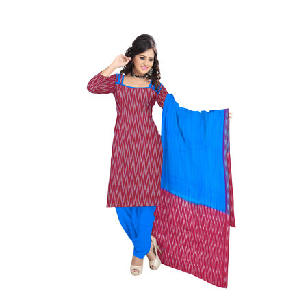OSSTG6243: Unstitched Women' s Handwoven Maroon with Blue Pochampally cotton Dress Material with same Dupatta