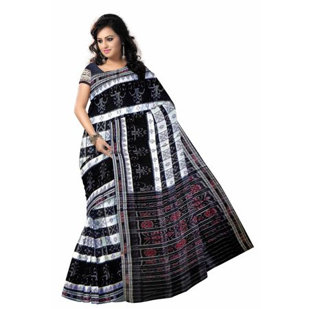 OSS7567: White with Black combination Box design handloom cotton saree from odisha