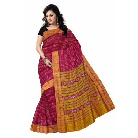 OSS505: Maroon color odisha handwoven pata(Silk) saree with Embroidery designs.