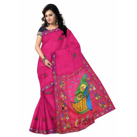 OSS300110: Pink color Peacock Design hand painted patachitra saree online shopping.