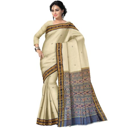 OSS174: Off White color Traditional Handwoven Ikat Silk Sari