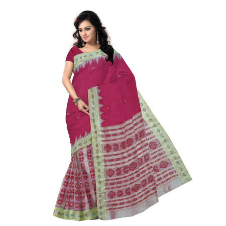 OSS5046: Traditional Soft Pink Handwoven patli with Temple design Silk saree.