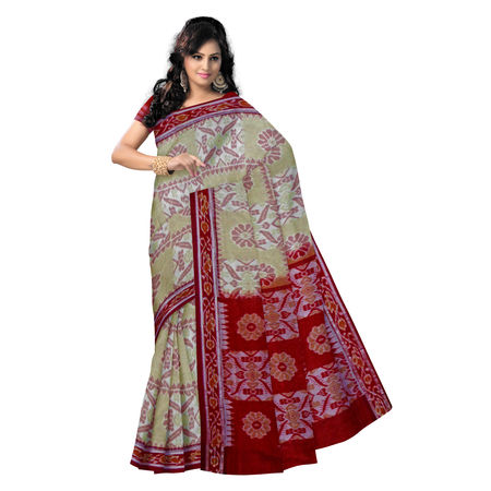 OSS7432: Exclusive Sandal Brown & Maroon Traditional Design (Tie & Die) Handwoven Cotton Saree