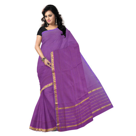 OSSAP007: Violet handwoven venkatgiri Cotton Saree