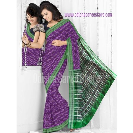 OSS5025: Deep voilet color handloom silk saree of odisha.