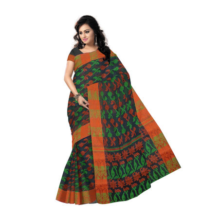OSSWB9046: Exclusive Indian Designer Black Green Handloom Jamdani cotton Sari.