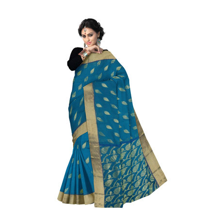 OSSWB9038: Blue with Golden Handwoven Bengal Tant Benarasi Cotton Saree.
