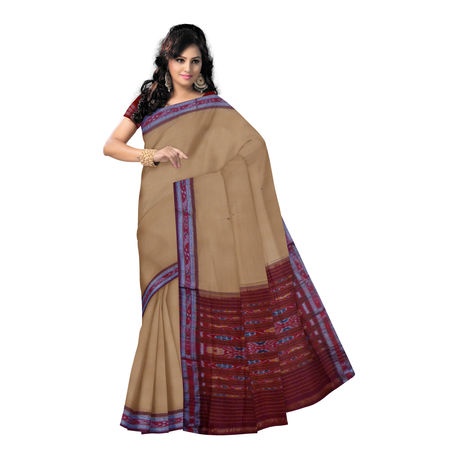OSS9111: Sand Brown Buti design Sambalpuri Cotton Saree