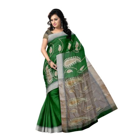 OSSWB9001: Green color Handwoven Baha design Silk saree for Party wear