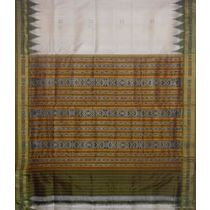 OSS5077: Green And Off White handloom designer silk Saree with beautiful temple motif work in border.