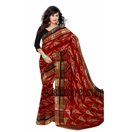 OSSWB059: Best Maroon color Jamdani Naksha handloom cotton saree of Phulia west Bengal online