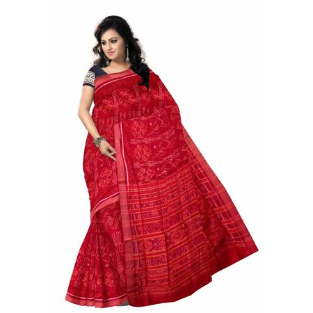 OSS415: Red color Traditional Handloom Cotton sari made by best weavers
