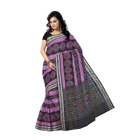 OSS267: Magenta with Black Check design handloom Cotton Saree for festival wear