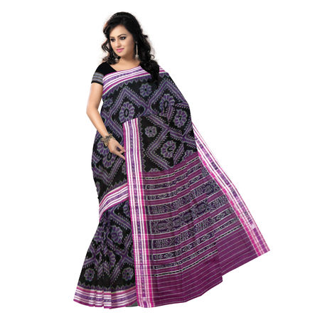 OSS431: Black-Magenta Handloom Mercerized Sambalpuri Saree